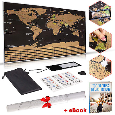 """Large Scratch Off Map of The World – 32.5"""" x 23.4"""" Scratching Map with World and"""