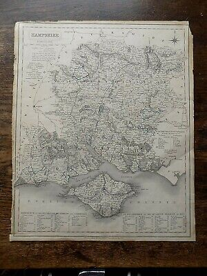 1835 Walker Map Hampshire Isle of Wight IOW 41x33cms Genuine Antique Old Hants