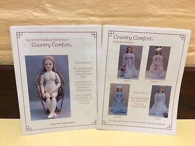 2 X Cloth Doll Sewing Patterns - 'Country Comfort Doll' & Her Wardrobe By Kezi