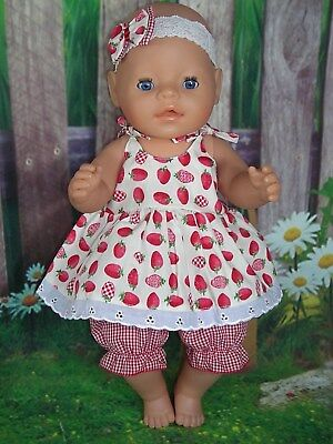 """Dolls clothes for 17"""" Baby Born doll~RED STRAWBERRY STRAP DRESS~BLOOMERS~HAIRBOW"""