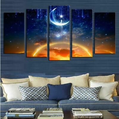Moon and Sun Abstract Art 5 pieces Canvas Wall Decorating Poster Home Decor