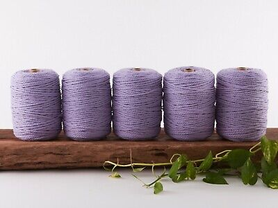 purple 4mm macrame rope 5kg coloured 3 strand ply cotton cord bulk wholesale