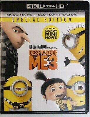 Despicable Me 3 4K Ultra Hd Blu Ray 2 Disc Set Special Edition Free Shipping