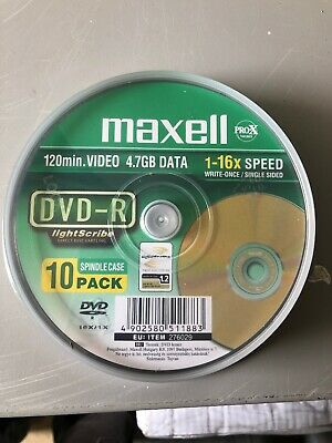 10 x Maxell DVD-R 16x Blank DVD Gold LightScribe Printable Surface