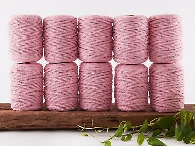 pink 4mm macrame rope 10kg 3 ply string coloured cotton cord twisted bulk