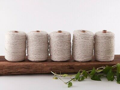 4mm macrame cord 5kg natural string 1 ply cotton single strand beige rope bulk