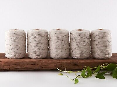 5mm macrame cord 5kg natural string 1 ply cotton single strand beige rope bulk