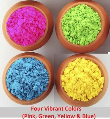 Natural Holi Rangoli Color Powder (Assorted Colours, 100 Gms)-Pack of 4