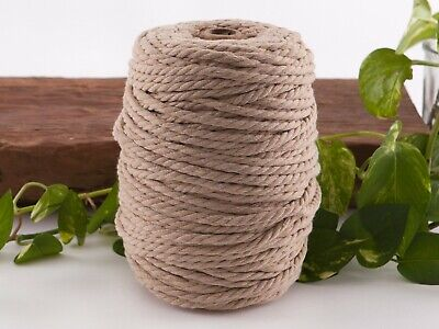 5mm beige macrame rope coloured 3ply cotton cord string strand twisted natural