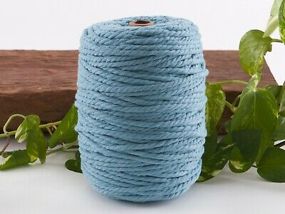 5mm blue macrame rope coloured 3ply cotton cord string strand twisted natural