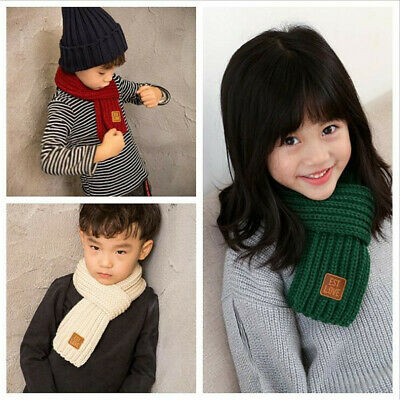 Winter Scarf Kids Children Scarf Solid Color Scarves Knitting Wool Neck Warmer B