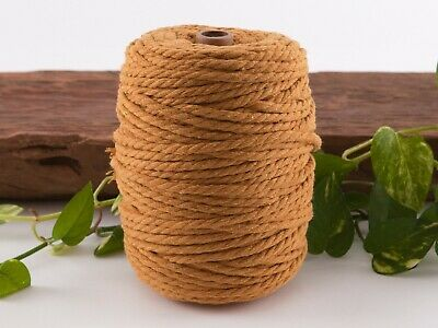 5mm mustard macrame rope coloured 3ply cotton cord string strand twisted natural