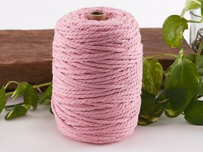 5mm pink macrame rope coloured 3ply cotton cord string strand twisted natural
