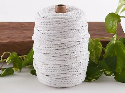 5mm white macrame rope coloured 3ply cotton cord string strand twisted natural