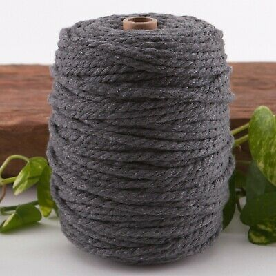 7mm dark grey macrame rope coloured 3ply cotton cord string strand twisted