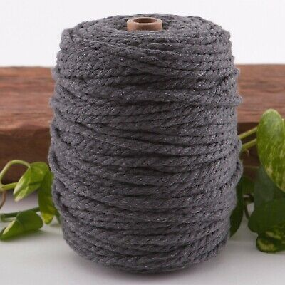 7mm grey macrame rope coloured 3ply cotton cord string strand twisted natural
