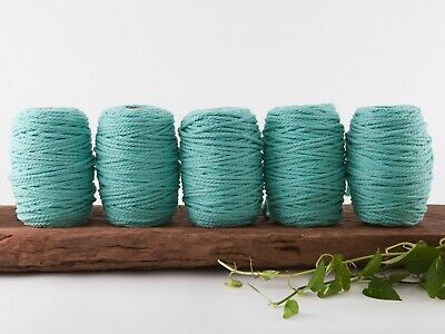 5mm aqua macrame rope coloured 3 ply cotton three strand cord bulk wholesale