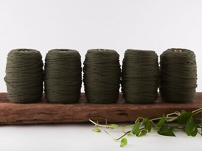 5mm khaki macrame rope coloured 3 ply cotton three strand cord bulk wholesale