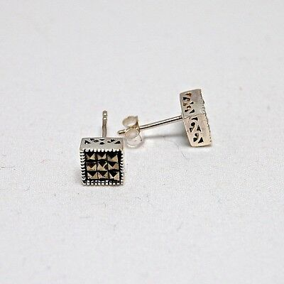 Marcasite Earrings Vintage Style Small Art Deco Stud 925 Sterling Silver