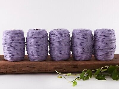 5mm purple macrame rope coloured 3 ply cotton three strand cord bulk wholesale