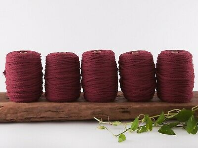5mm wine macrame rope coloured 3 ply cotton three strand cord bulk wholesale
