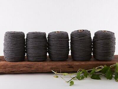 7mm grey macrame rope coloured 3 ply cotton three strand cord bulk wholesale