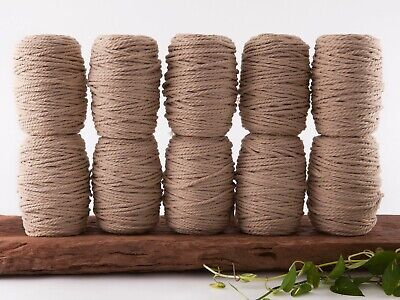 5mm tan macrame rope 3 ply string coloured cotton cord twisted bulk