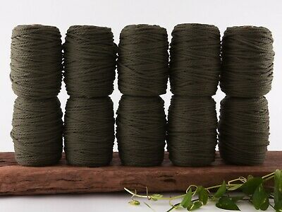 5mm khaki macrame rope 3 ply string coloured cotton cord twisted bulk