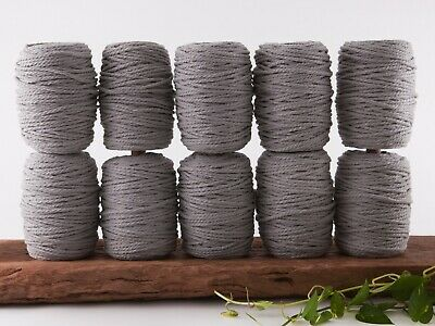 5mm grey macrame rope 3 ply string coloured cotton cord twisted bulk