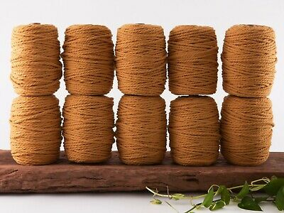 5mm mustard macrame rope 3 ply string coloured cotton cord twisted bulk