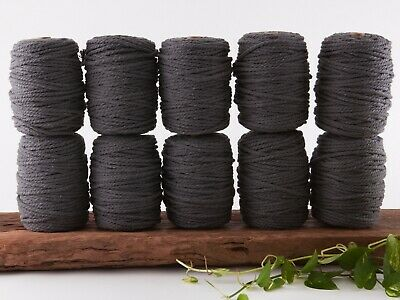 7mm grey macrame rope 3 ply string coloured cotton cord twisted bulk
