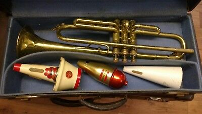Vintage Trumpet with case and three vintage mutes. Nevada. great looking piece!