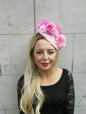 Baby Light Pink Feather Flower Disc Saucer Hat Fascinator Hair Floral Races 7100