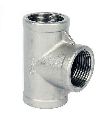"Stainless Steel (316) Equal Tee  Threaded BSP Pipe Fittings   Sizes 1/8"" To 2"""