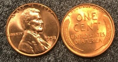 1958 and 1958-D Lincoln Wheat Cents Nice MS//BU RED Lincoln Coins