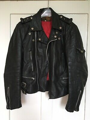 "Black Leather Biker Jacket 40"" Chest"