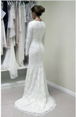 3123a852447c6 White/Ivory Lace Mermaid Wedding Dress Long Sleeves Bridal Gown Custom Size  4-28