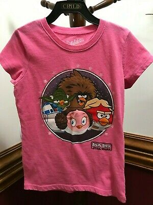 Angry Birds Girls Short Sleeve Graphic Tee T-Shirt White Tagless All Sizes NWT!