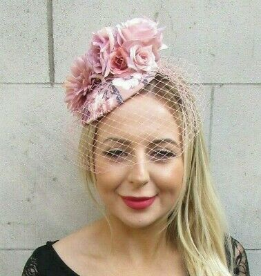Nude Latte Dusky Blush Pink Light Brown Birdcage Veil Flower Fascinator Hat 6110