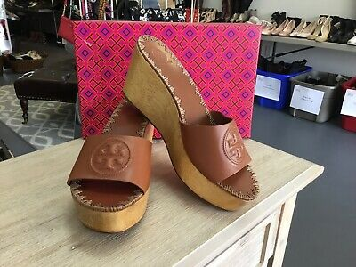871b2c3a24d TORY BURCH WOMEN S Patty Wedge Slide in Perfect Cuoio Sz 10  248 ...