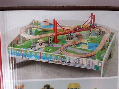 Brand New Carousel Wooden Train Table With 56 Piece Train Set
