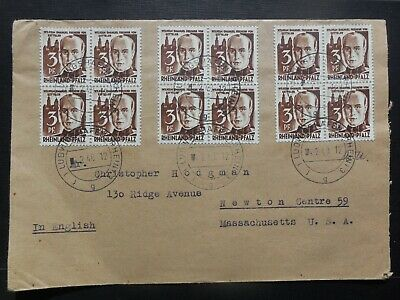GERMANY Ludwigshafen Stamp Cover 3 Blocks 1948