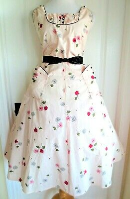077e32f04ae vintage 50s Paintset pink rose print pocket rhinestone button full skirt  sundres