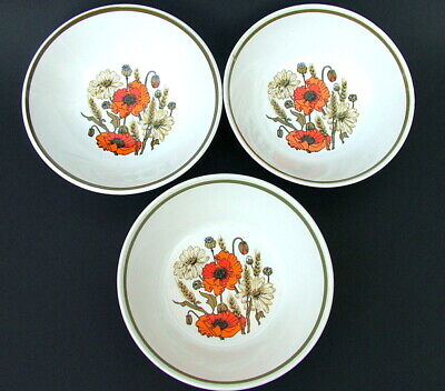 THREE Vintage 1960's J & G Meakin Poppy Poppies Pattern Cereal Bowls 16cm Dia
