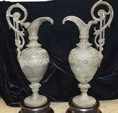 Antique 1800's Spelter/Cast Iron Ornate Ewers/Urns (Pair)