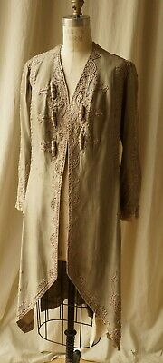 Early 1800s or 1900s Raw Silk Hand Sewn Asymmetry Heavy Day Coat