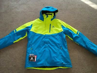 87a3df63a8 NEW SALOMON RISE Ski jacket men s XX LARGE   2XL Blue Green - £82.99 ...
