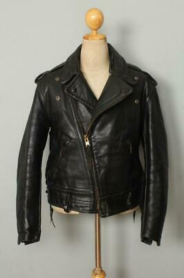 Vtg 50s CAL LEATHER Black HORSEHIDE CHP Police Motorcycle Jacket Large