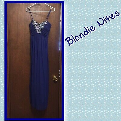 $170 NWT BLONDIE NITES Light Blue Black Prom Formal Gown 1
