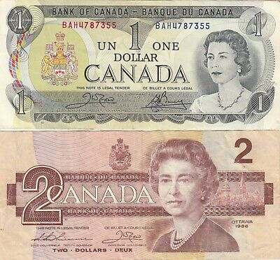 1973 $1 and 1986 $2 Dollar Bank of Canada Banknotes BAH4787355 & AUW9564314